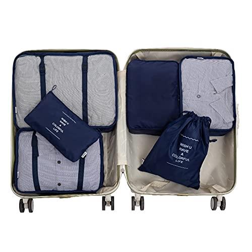 COKEYU Juego de Bolsa de Almacenamiento de Equipaje de Viaje 6 en 1,Bolsa de Almacenamiento de Equipaje Impermeable,Puede almacenar Ropa de Viaje Sucia,diseño de Malla de Material ecológico