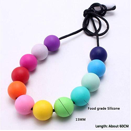 SHUX Collar De Color Arcoíris Cuentas De Silicona Collar De Dentición Grado Mordedor De Silicona Masticable Collar De Lactancia para Bebé Mamá, Cuentas Redondas De 15 Mm, Aproximadamente 60 Cm