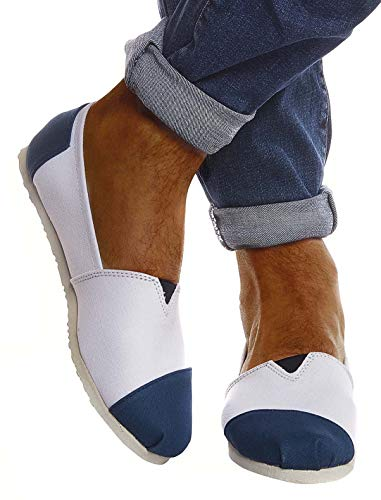 Leif Nelson Hombres Zapatos Alpargatas LN-101 Indigo Blanca 42 EU