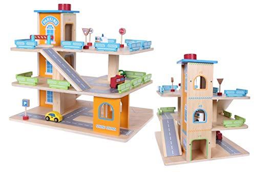 COIL Parking Garage Parking Garage Jeu en Bois Garage Ascenseur Garage Voiture Garage en Bois Enfants Jouets en Bois + Accessoires