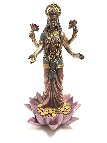 Lakshmi Hindu-Göttin auf Lotus-Statue, Skulptur
