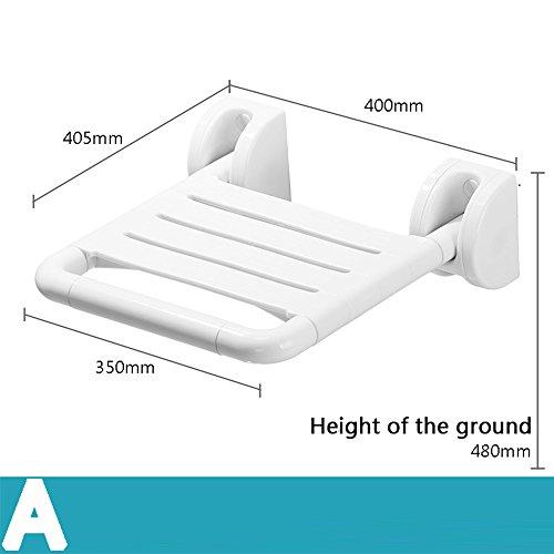 WEBO HOME- Chaise de pliage de sécurité sans barrières vieille salle de bain baignoire chaises de changement de douche accoudoir chaise chaise salle de bain assise selle -Main courante de salle de bain ( Couleur : Blanc , style : A )