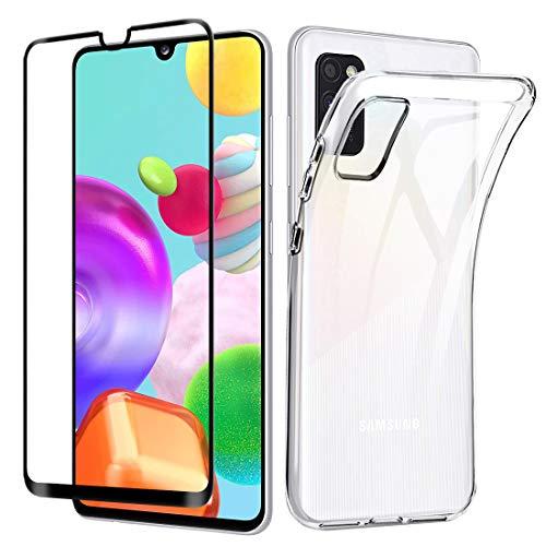 Lifeacc für Samsung Galaxy A41 Hülle + 3D Vollständige Abdeckung Panzerglas Bildschirmschutzfolie, Silikon Transparent Samsung A41 Schutzhülle
