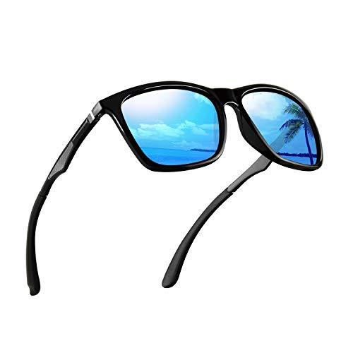 Polarized Sunglasses for Men Aluminum Mens Sunglasses Driving Rectangular Sun Glasses for Men/Women UV 400 Protection Mirrored Blue Lens/Black Frame
