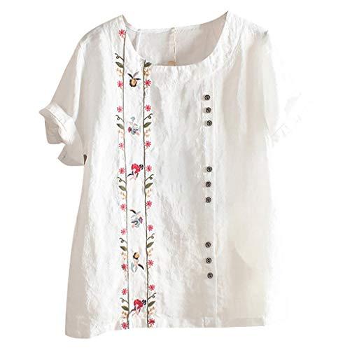 SANFASHION Damen Neue Baumwoll Leinen Tunika T-Shirt Böhmischen Sommer Blumen...