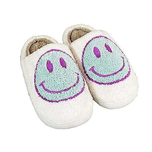 TGBV Retro Smiley Face Slippers, Soft Plush Comfy Warm Slip-On Slippers, Smiley Slippers for Women Men, Cozy Cute Home Shoes, Scuff Resistant Non-Slip Memory Foam Sole (White,EU 43-44)