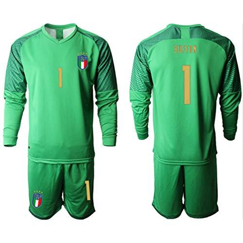 Bǔffǒn Kids Fussball Jersey Set - Italien 2021 Neue Fussball Jersey Langarm Fans Sweatshirt / 1# Green-XXS
