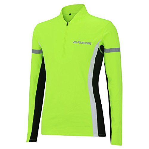 Airtracks Winter Funktions Laufshirt/Damen oder Herren/Thermo Funktionsshirt/Fleece Running T-Shirt/Reflektoren/Langarm - neon - L - Damen