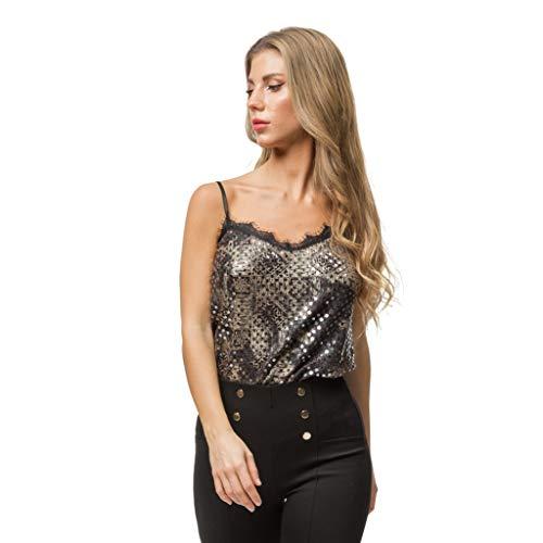 Mer\'s Style - Top Fiesta Camiseta de Tirantes Granate, Talla L-42 Mujer