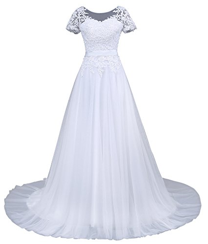 Romantic-Fashion Brautkleid Hochzeitskleid Weiß Modell W043 A-Linie Kurzarm Satin Perlen Pailetten DE Größe 54