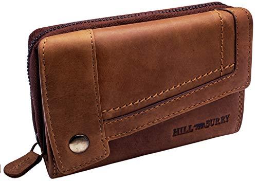 Hill Burry Damen Leder Portemonnaie | Große Geldbörse aus echtem Leder | Frauen Geldbeutel mit vielen Fächern | Mit Münzfach & RFID Schutz (Braun)
