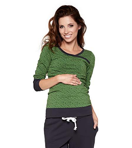 be Mama! Umstandsshirt mit Stillfunktion, Modell: Monic - Langarm, grün mit Muster, L