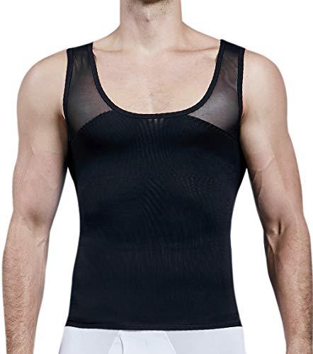 MISS MOLY Faja Reductora Camiseta de Tirantes Compresión para Hombre Chaleco Adelgazante Abdomen Camisa Moldeador Body Shaper Ropa Interior para Ocultar Ginecomastia Moobs