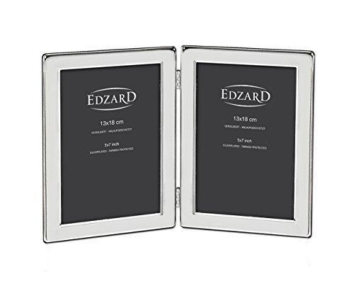 EDZARD Doppel-Fotorahmen Salerno für 2 Fotos 13 x 18 cm, edel versilbert, anlaufgeschützt