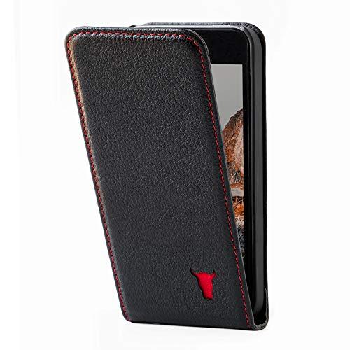 TORRO Vertikale Klapphülle Kompatibel mit Apple iPhone SE (2016) und iPhone 5S / 5 hochwertiges Leder mit [Schlankes Design] 4 Zoll (Schwarz)