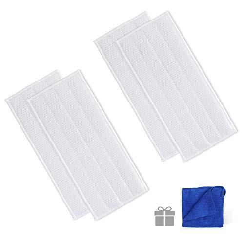AIEVE 4 Stk. Wischtuch waschbares Tuch inkl. 1 Stk. Microfasertuch Zubehör kompatibel mit Kärcher Vibrierender Akku-Wischer KV 4