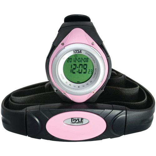 PYLE PHRM38PN Heart Rate Monitor Watch with Minimum, Average & Maximum Heart Rate (Pink)