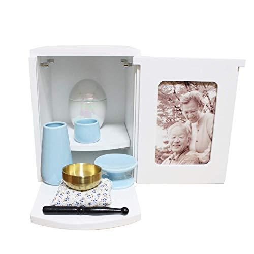ミニ仏具3点セット ブルー おりん ミニ仏壇 メモリアルBOX ホワイト 2〜4寸骨壷収納 ボックス