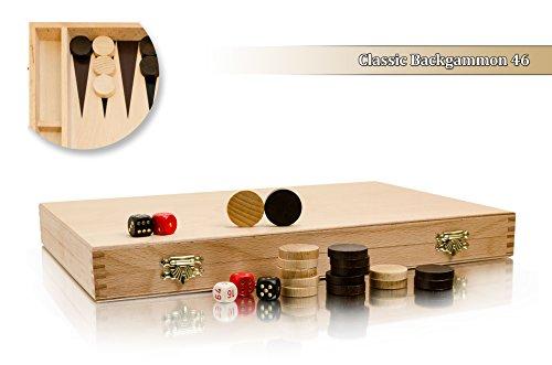40 x 46 cm de grand Backgammon classique en bois figurant Cassette noir élégant