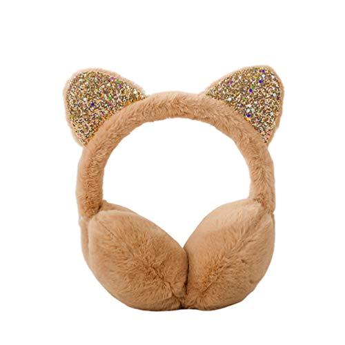 Fenical Niedliche Tier Ohrenschützer Plüsch Katzenohren Outdoor Winter wärmer Ohrenschützer Ohrenwärmer Stirnband für Mädchen Frauen (Khaki)