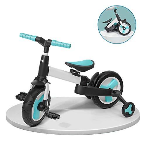 Falträder für Jungen und Mädchen Falträder multifunktionale Laufräder Anti-Fall-Fahrräder tragbare Fahrräder multifunktionale Kinderwagen (Color : Blue, Size : 80 * 44 * 58cm)