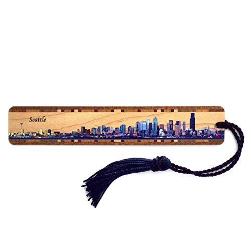 Seattle, Washington Skyline - Color Wooden Bookmark with Tassel - Also Available Personalized