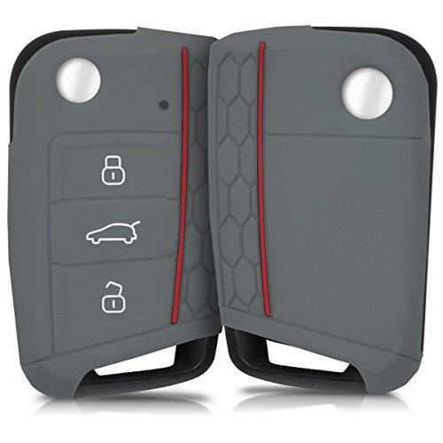 kwmobile Funda de Silicona Compatible con VW Golf 7 MK7 Llave de Coche de 3 Botones - Carcasa Suave
