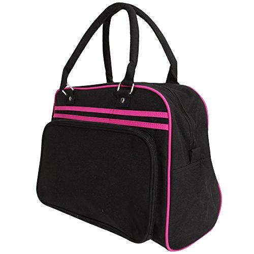 Bagbase Retro Bowling Tasche (23 Liter) One Size,Schwarz/Fuchsia