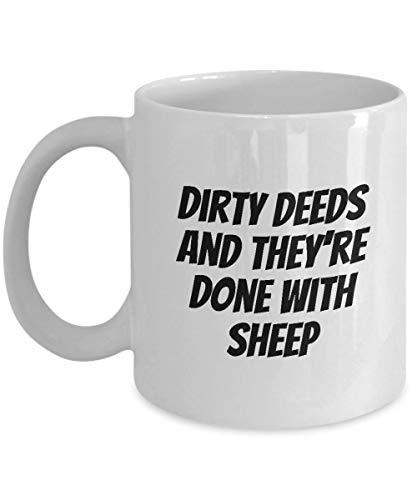 N\A Divertida Taza de café con Letras equivocadas o Mal escuchadas ACDC Parodia Dirty Deeds y están Hechos con ovejas Hard Rock Music Fans Gift