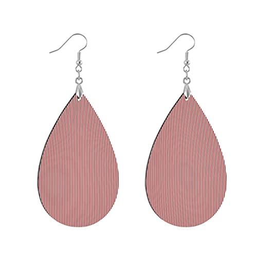 1 par de pendientes de madera con forma de gota de agua, color rosa, con diseño de rayas, para mujer, Teardrop, Madera Cobre Plata,
