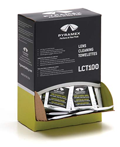 Pyramex Safety Individually Packaged Lens Cleaning Towelettes, No Streaks, 100 Piece