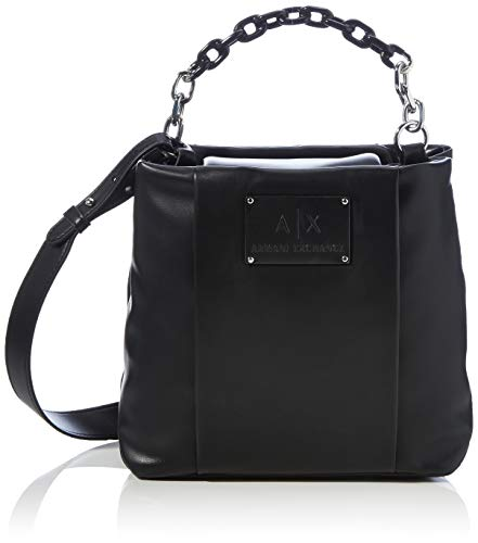Armani Exchange Womens Shoulder-handbags Tote, Black, TU