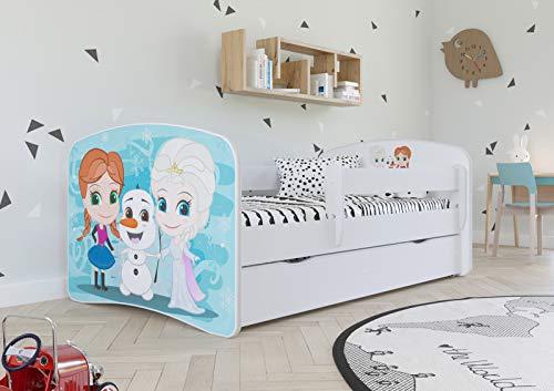 Wonderhome Kids Letto Bianco per Bambini con Materasso Incluso 70x140 80x160 80x180 cm Letto Bambini con Barriera di Protezione, Doghe e Cassetto Removibile - per Bambino e Bambina - 140x70 - Ice