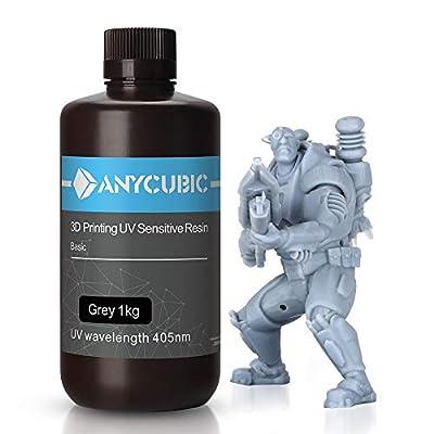 ANYCUBIC 3D Printer Resin LCD UV 405nm Rapid Photopolymer for LCD/DLP/SLA 3D Printers, 1000g Grey
