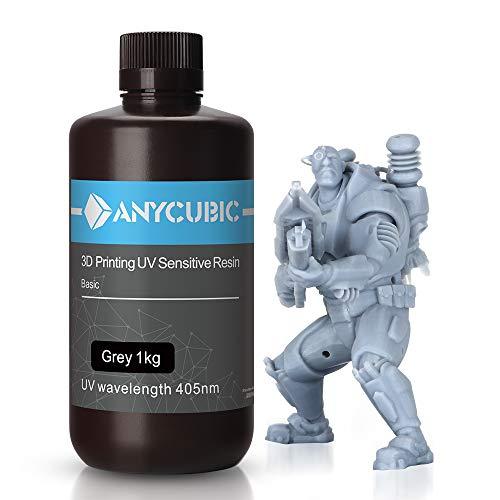 ANYCUBIC LCD UV 405nm Resina Fotopolimerica Rapida per Photon S Liquido 3D Resin Universale alta Precisione per Stampanti LCD/DLP/SLA 3D Multicolor Available (1KG, Grigio)