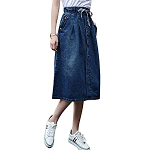 Women's Elastic Waist A-Line Pleated Midi Denim Skirt