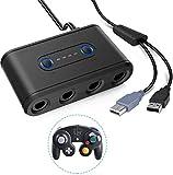 GameCube Controller Adapter, 4 Puertos Controlador Gamepad Adaptador convertidor de Nintendo Switch Gamecube para Wii U PC