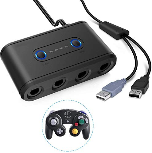Adaptateur pour Game-Cube Manette, Convertisseur Contrôleur avec 4 Ports Compatible avec Game-Cube Switch/WII U/PC