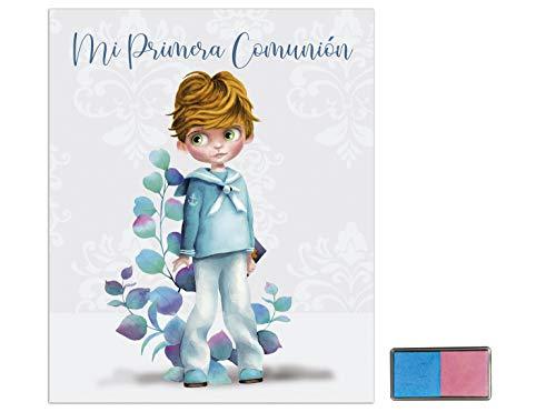 Libro de comunión niño con tampón para huellas de Arguval