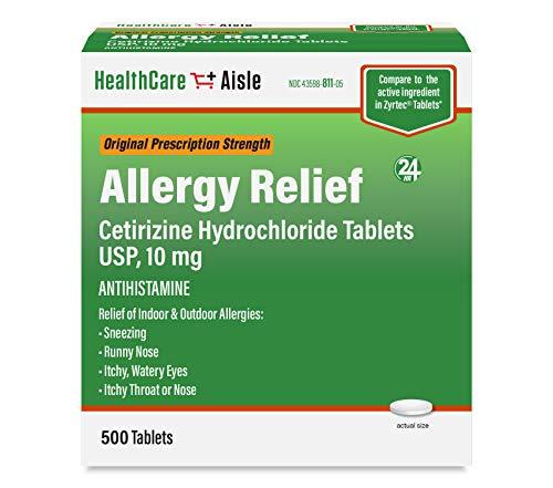 HealthCareAisle Allergy Relief Cetirizine Hydrochloride Tablets, USP | 24 Hour Allergy Relief | 10 mg | 500 Count