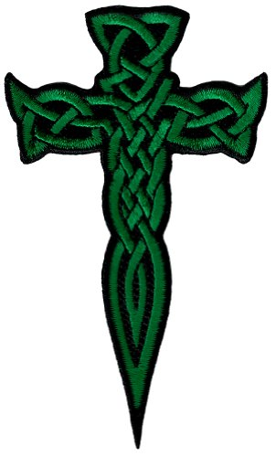 Celtic Cross Dagger Green Iron-On Patch Embroidered Irish Crucifix