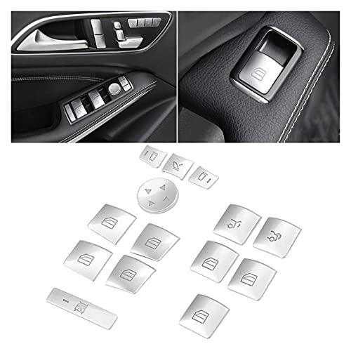 TIANKAI Allenzhang Puerta Interior Reproductor de la Ventana Interruptor de la Ventana Pegatina Pegatina Ajuste para Benz GLK ML GL A B C E G Class W04 W212 W246 W166 x166 (Color : Silver)