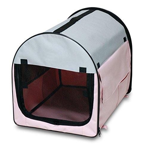 BUNNY BUSINESS Cage Pliante pour Chien en Tissu Doublure Polaire Housse de Transport Rose/Gris Taille S 68 cm