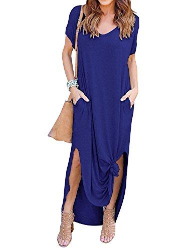 Yidarton Damen Sommerkleid Casual V-Ausschnitt Kurzarm Tasche Side Split Beach Long Maxi Kleid (XL, Blau)