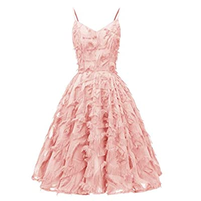 Women Formal Dress for Wedding Evening Party Club Sexy Sleeveless V-neck Feathers A Line Pleated Dress Daorokanduhp from
