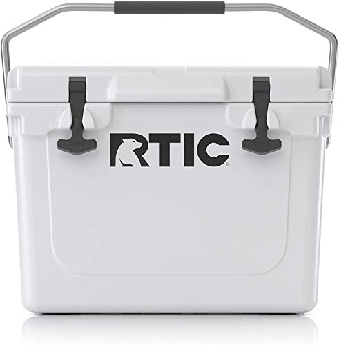 RTIC Hard Cooler, 20 qt, White, Ice Chest with Heavy Duty Rubber Latches, 3 Inch Insulated Walls