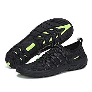 Men Athletic Water Shoes for Men Quick Dry Swim Shoes Pool Shoe Beach Shoe Diving Surf Kayak Boating Rivers Sports Aqua Shoes Barefoot Athletic Water Shoes for Men Non Slip, Black 12.5 Women/11 Men