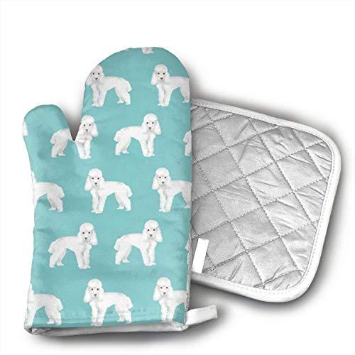 Set Of Oven Mitts,Poodle Puppy - Guantes Coloridos Con Estilo Para Hornos Y Almohadillas Calientes Para Regalos Caseros Para El Día De La Madre