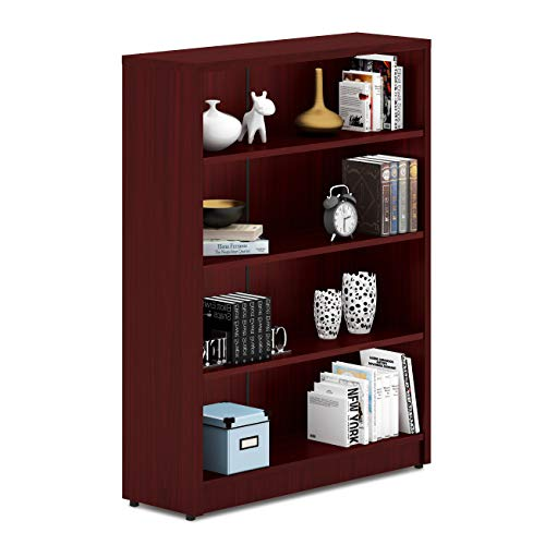 Sunon Collection 4-Shelf Wood Bookcase Freestanding Display Bookshelf for Home and Office, Assembly Required (Mahogany)