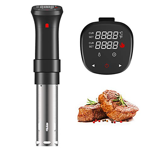 Fityou Sous Vide Cooker 1100W, Thermal Immersion Circulator with Recipe and Adjustable Clamp, Sous Vide Heater with Accurate Temperature & Digital Timer, Ultra Quiet Stainless Steel
